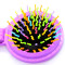 Rainbow Volume Massage Hair Brush Pocket Size Round Hair Brush Comb With Mirror Purple color