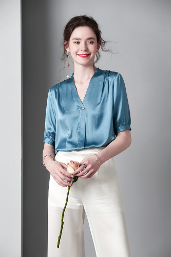 Silk stretch solid color shirt