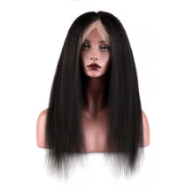Natural Color Kinky Straight Brazilian Hair High Quality Lace Wigs