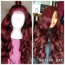 INS Best Selling Free Shipping wave Hair burgundy Color Lace Front Wigs,360 lace wig,full lace wig