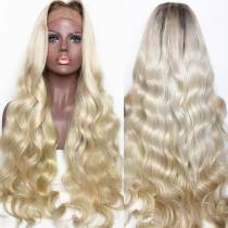 Dark Roots Ombre Blonde 613 Color Free Shipping Wavy Hair Good Quality Lace Front Wigs,360 Lace wig ,full lace wig