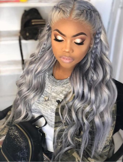 Loose Curly Grey Color Free Shipping Hair Good Quality Lace Front Wigs,360 Lace wig ,full lace wig
