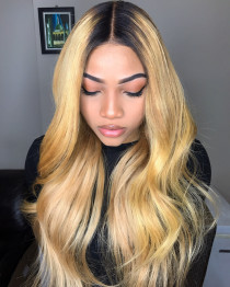 Free Shipping Ombre Blonde Color Virgin Brazilian Hair Lace Front Wigs,360 Lace wig ,full lace wig