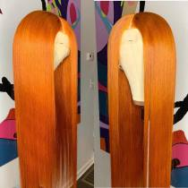 Wholesale Price Pre-Plucked Straight Hair Orange Color Hair Good Quality Lace Front wig,360 Lace wig ,full lace wig