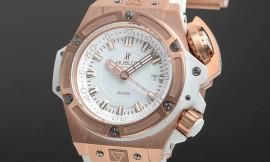ウブロ時計コピー キングパワー オーシャノグラフィック4000 キングゴールド ホワイト Cal.HUB1401自動巻きムーブメント搭載 28800振動 731.OE.2180.RW