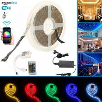 Wifi IP65 Led Strip Lights RGB + Warm White 4 in 1 LED Light Strip Set Compatible with Alexa, Google Home, IFTTT, Wifi Wireless Smart Phone Controlled Full Kit