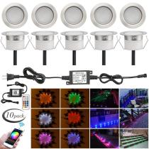 WiFi RGB Deck Lights Kits, FVTLED 10pcs Φ1.77  WiFi Controller Low Voltage LED Step Lights Kit Work with Alexa Google Home WiFi Wireless Smart Phone LED Inground Lights