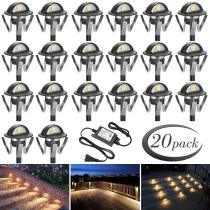 FVTLED Pack of 20 Warm White Low Voltage LED Deck lights kit Φ1.38  Outdoor Garden Yard Decoration Lamp Recessed Landscape Pathway Step Stair Warm White LED Lighting, Black