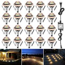 FVTLED 20pcs Low Voltage LED Deck lights kit Φ1.38  Outdoor Garden Yard Decoration Lamp Recessed Landscape Pathway Step Stair Warm White LED Lighting, Bronze