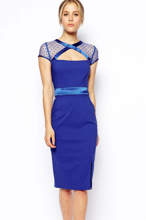 Cut out Vintage Dress with Mesh Shoulder