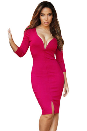 Rose Sexy V Neck Sleeved Bodycon Midi Dress