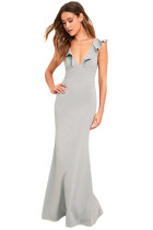 Gray Deep V Neck Ruffle Detail Maxi Party Dress