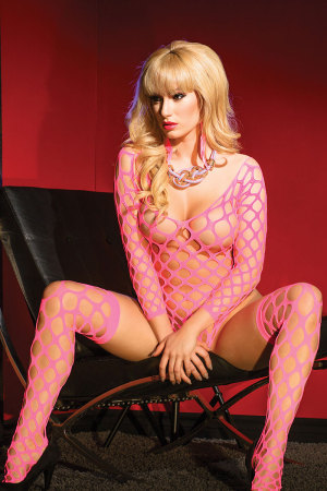 Lustful Pink Fishnet Big Holes Romper with Stockings