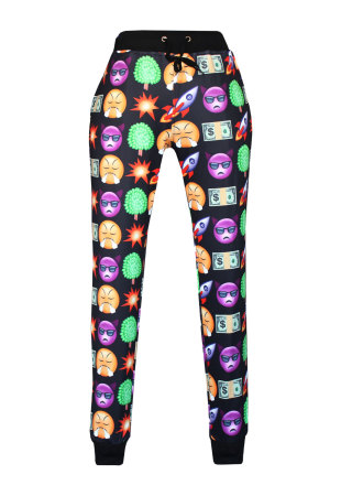 Fashion Black Emoji Print Women Pants
