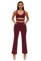 Burgundy Cross Front Crop Top and Pocket Pant Set