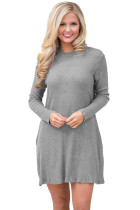 Gray High Neck Long Sleeve Knit Sweater Dress