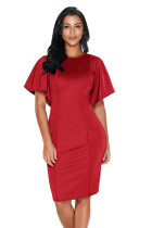 Red Flutter Sleeve Back Slit Sheath Dress