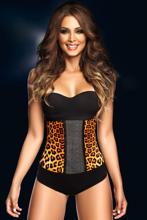 Yellow Leopard Print 9 Steel Bones Latex Waist Trainer