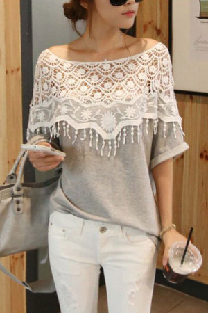 Crotcheted Shawl Lapel Featured Batwing T-shirt