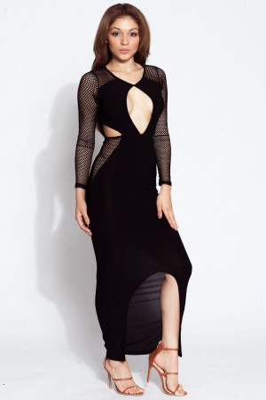 Mesh Contrast Cut out Bodycon Maxi Dress