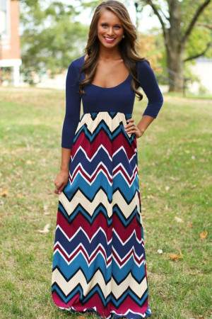Best Day Ever Chevron Print Maxi Dress