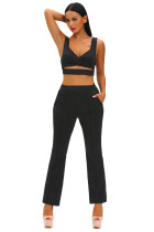 Black Cross Front Crop Top and Pocket Pant Set