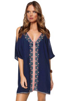 Navy Embroidered Swimsuit Cover Up Tunic