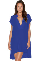 Royal Blue Oversize Shirt Style Beach Cover Up