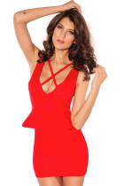Energy Girl Red Body-conscious Dress
