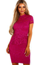Wine Women Party Mini Lace Peplum Dress