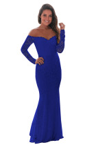 Blue Crochet Off Shoulder Maxi Evening Party Dress