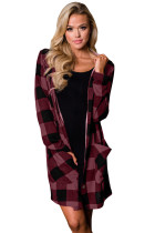 Purplish Red Checkered Button Up Hooded Cardigan