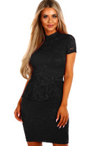 Black Women Party Mini Lace Peplum Dress