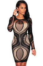 Black Plus Lace Nude Illusion Long Sleeves Bodycon Dress