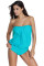 Light Blue Wirefree Blouson Tankini 2pcs Swimsuit