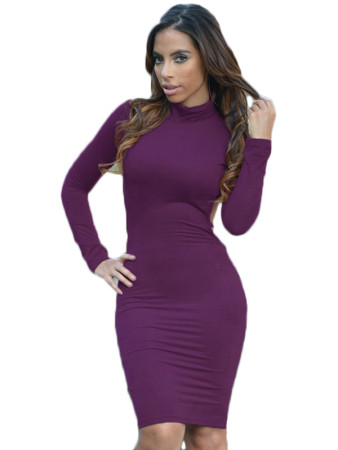 Purple Faux Suede Turtleneck Long Sleeve Midi Dress