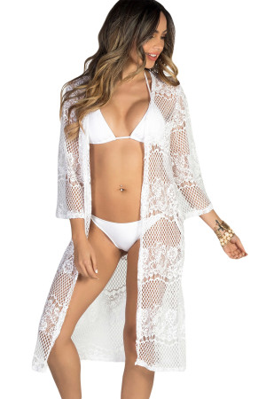 White Long Lace Beach Cover Up
