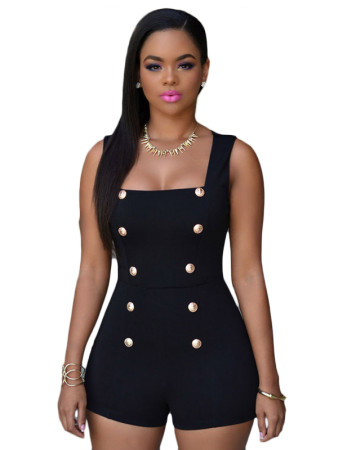 Black Gold Buttons Romper