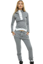Gray Street Fashion Hooded Jogging Suit
