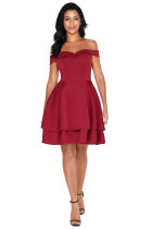 Burgundy Off Shoulder Layered Short Prom Dress