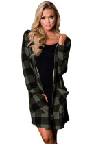 Grey Black Checkered Button Up Hooded Cardigan