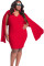 Red Cape Plus Size Dress