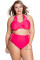 Red Strappy Splice Two-piece Bikinis