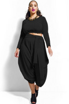 Black Plus Size Crop Top Draped Convertible Pants Set