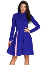 Patchwork Tie Neck Long Sleeve Royal Blue Flared Dress