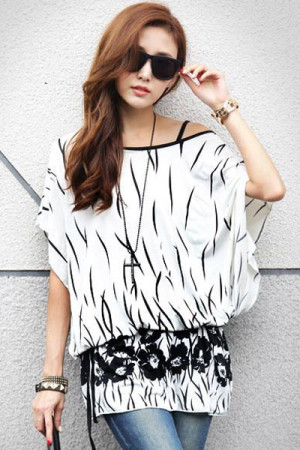 Scoop Neck Print Dolman Sleeve Blouse with Belt