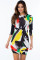 Brush Aside Print Bodycon Dress