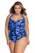 Ocean Color Spotted Plus Size Non-underwire Monokini