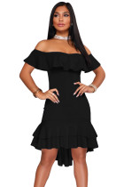 Black Off Shoulder Hi-Lo Hem Ruffle Party Dress