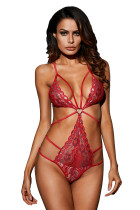 Red Heart Lace Strappy Teddy